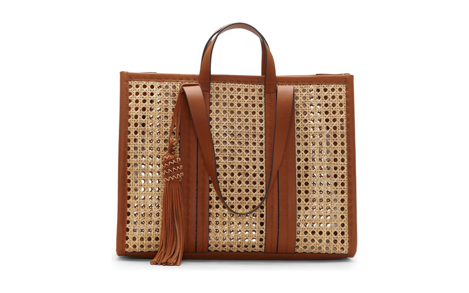 Indra Woven Rattan Leather Tote