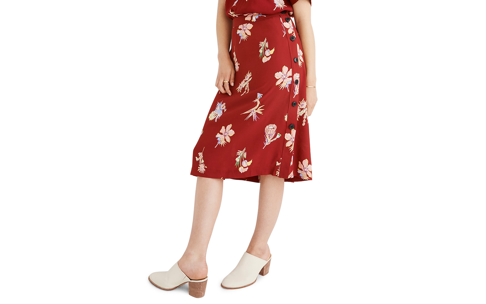 Madewell Bird of Paradise Side Button Skirt