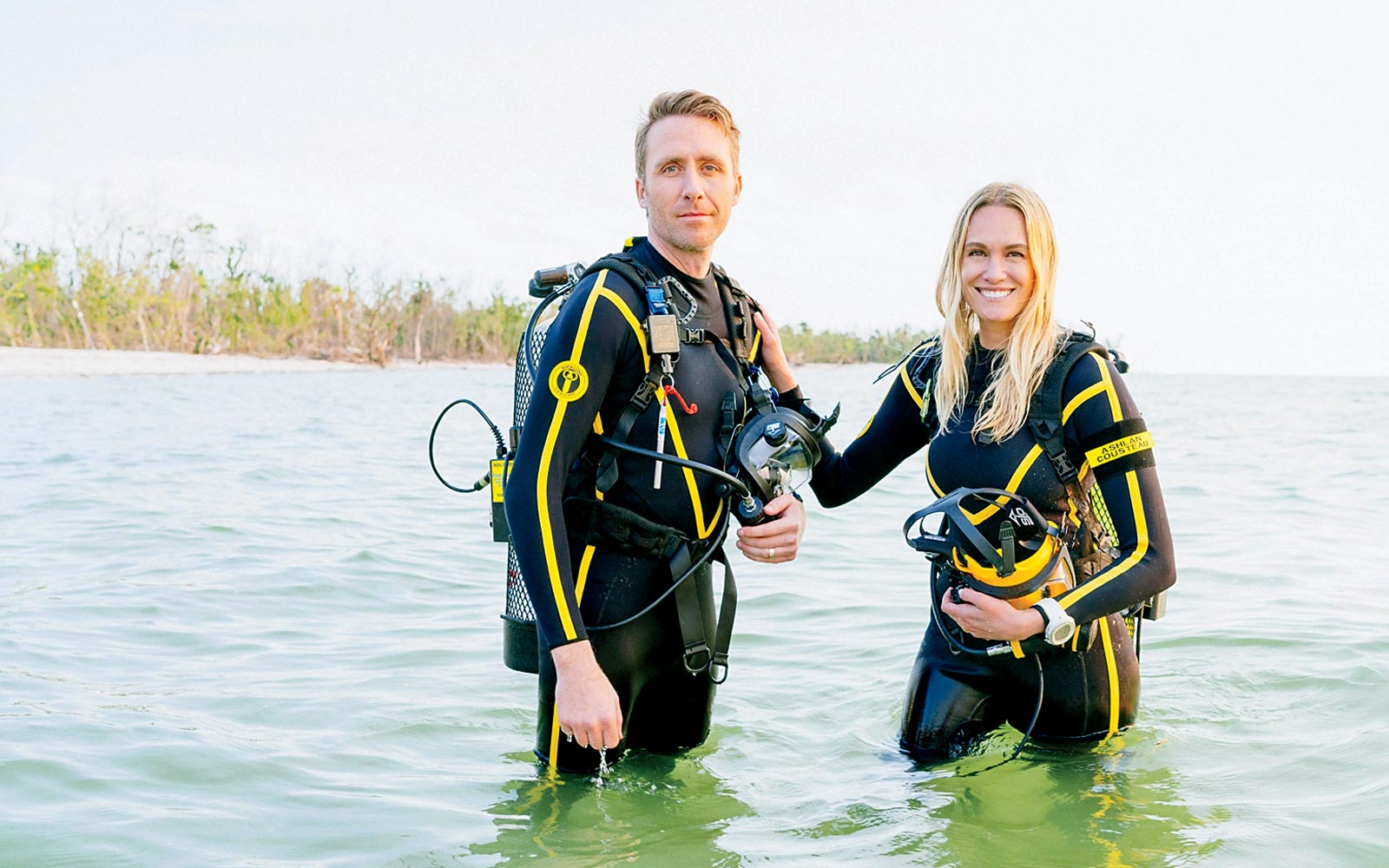 Philippe and Ashlan Cousteau in Marco Island filming Caribbean Pirate Treasure