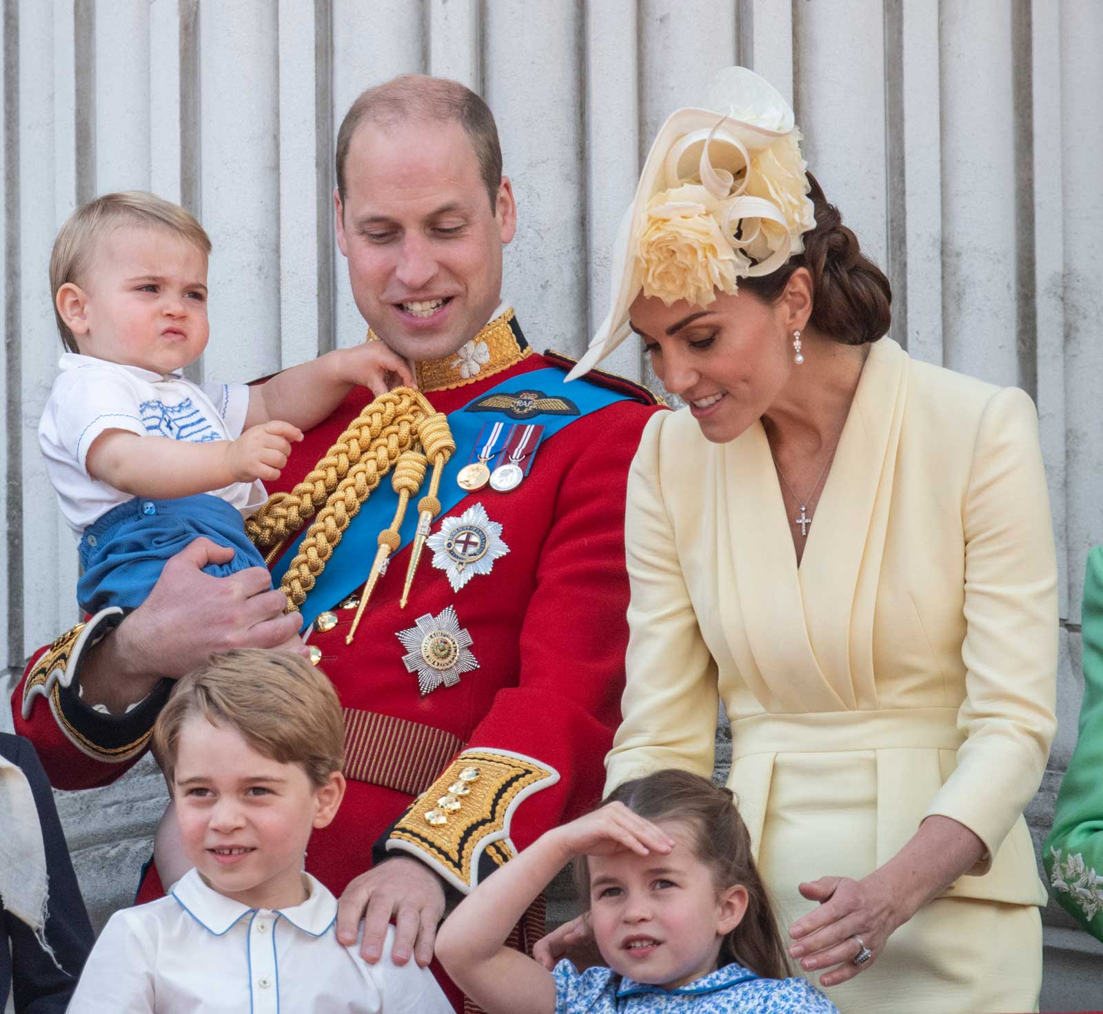 Prince William, Duke of Cambridge with Catherine, Duchess of Cambridge, Princess Charlotte of Cambridge, Prince George of Cambridge and Prince Louis of Cambridge during Trooping The Colour