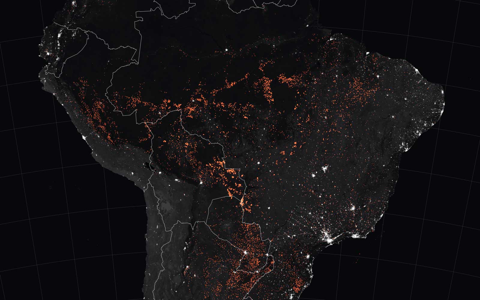 A handout photo made available by NASA Earth Observatory of a map showing active fire detections in Brazil as observed by Terra and Aqua MODIS satellites between 15 and 19 August 2019 (issued 24 August 2019).