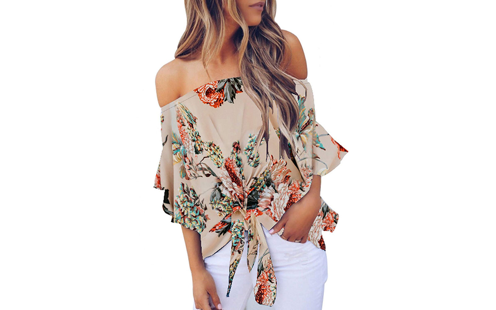 Asvivid Women's Off Shoulder Bell Sleeve Shirt in Floral Apricot