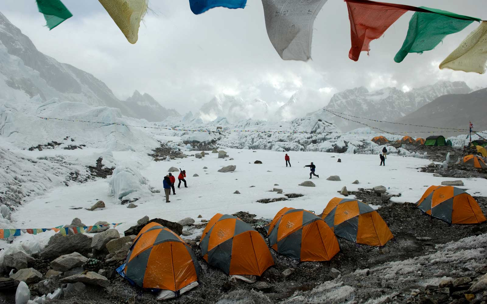 Climbers at a Mount Everest base camp