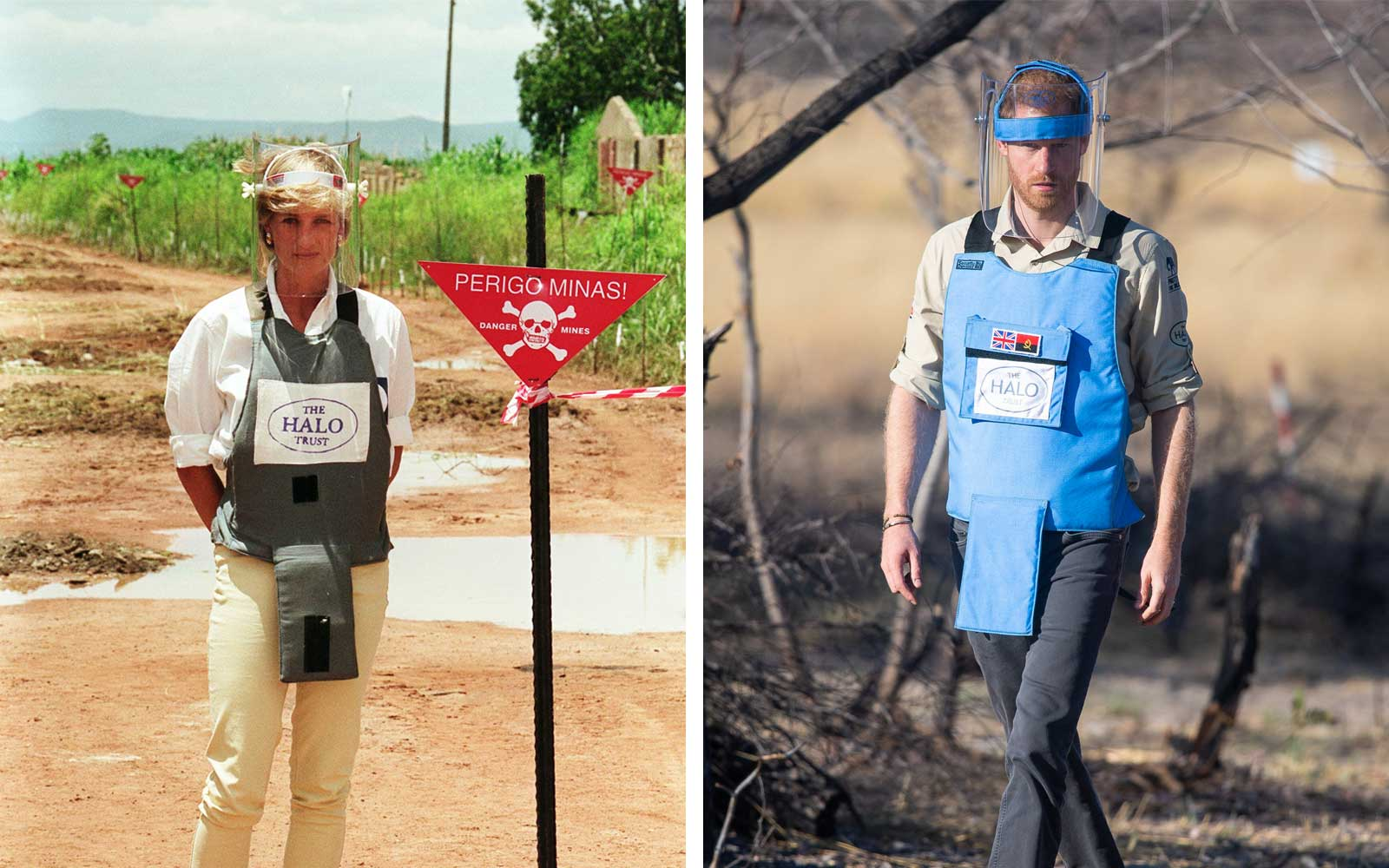 Princess Diana and Prince Harry 22 Years Apart, Walking Minefields in Angola