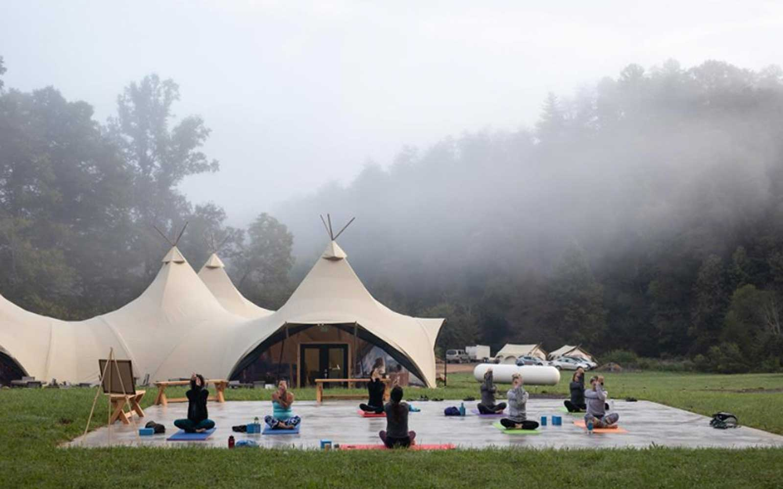Yoga at Under Canvas glampsite