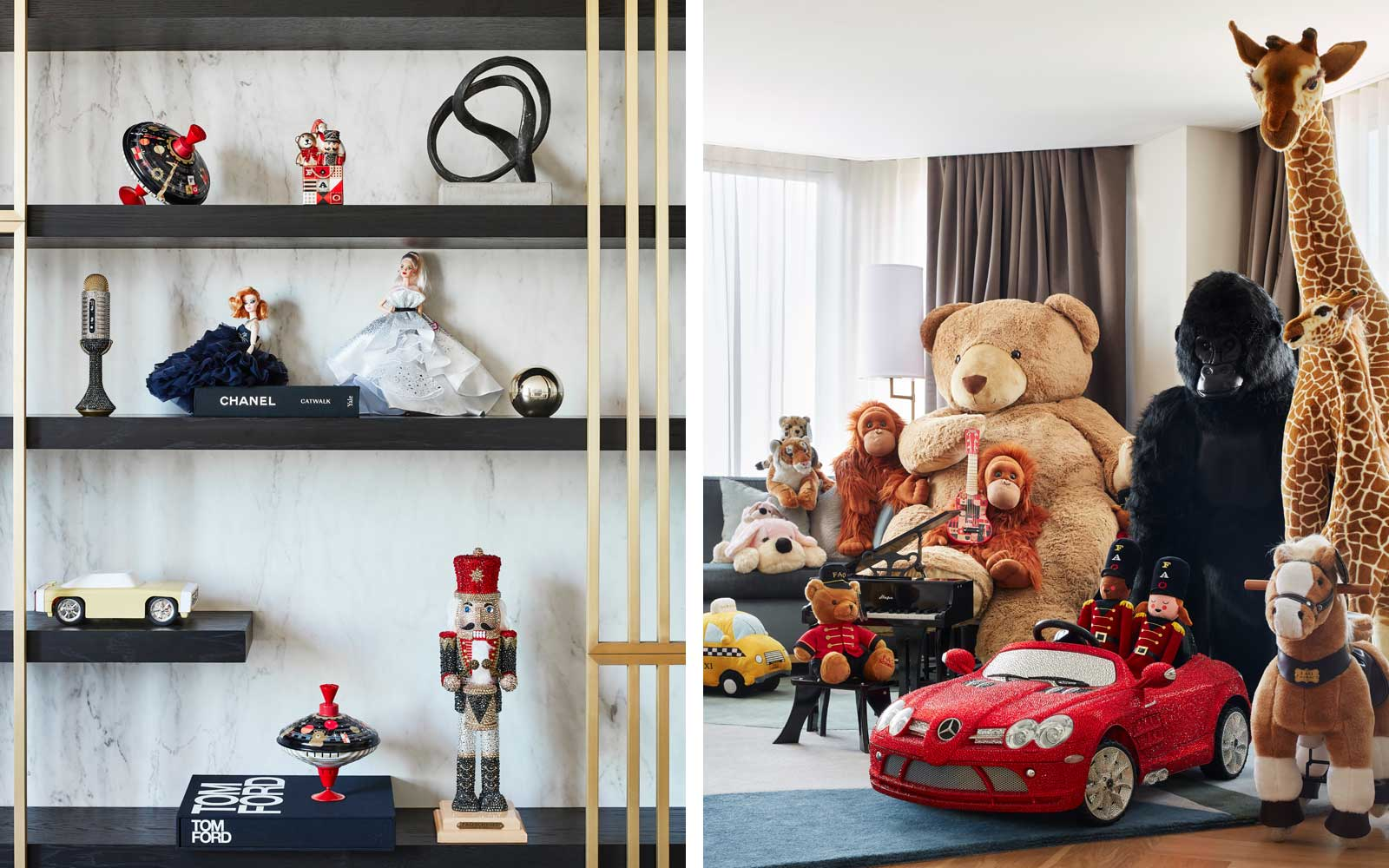 This hotel suite is filled with FAO Schwarz toys — including the dance-on piano
