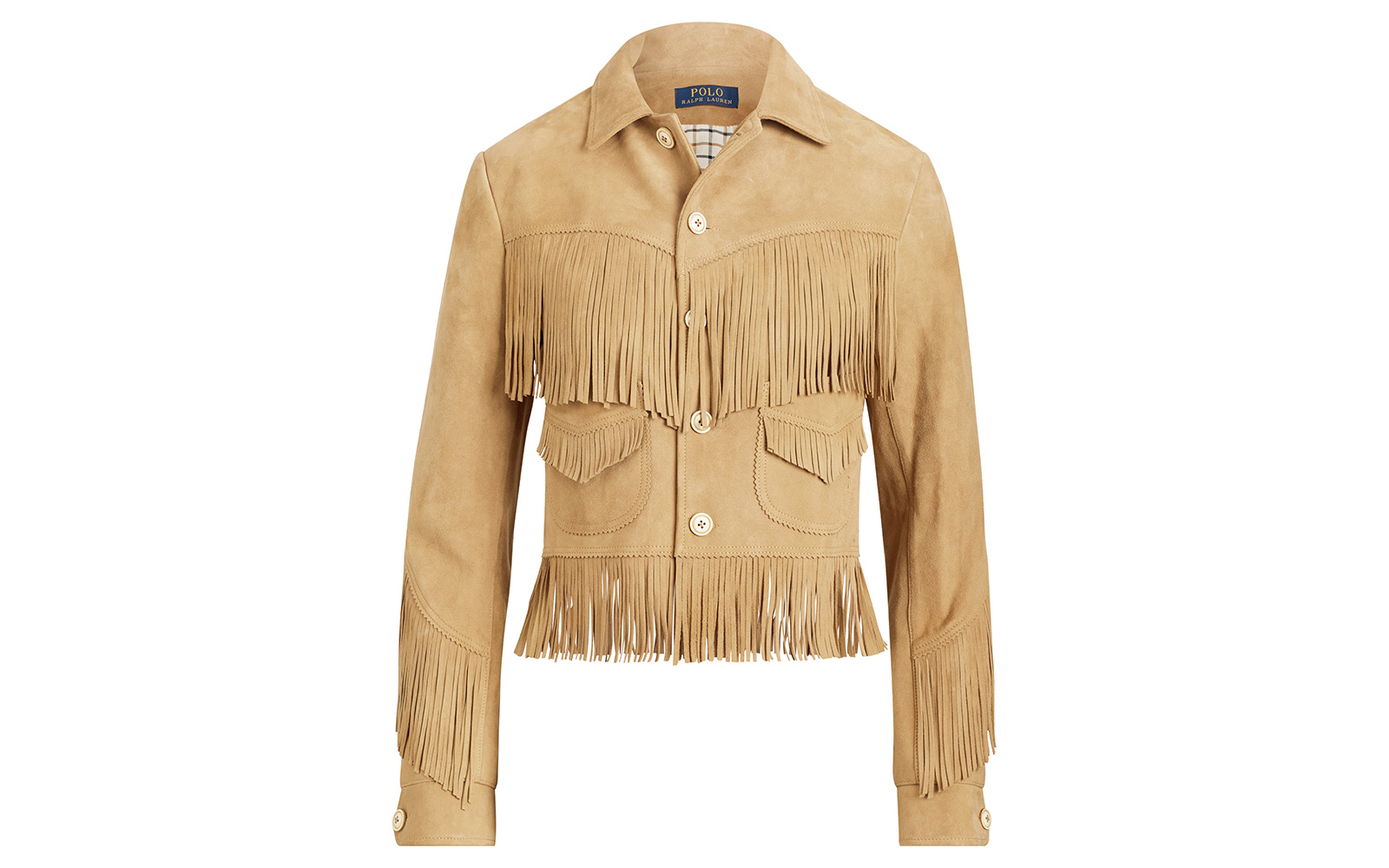 Fringe-Trim Suede Jacket
