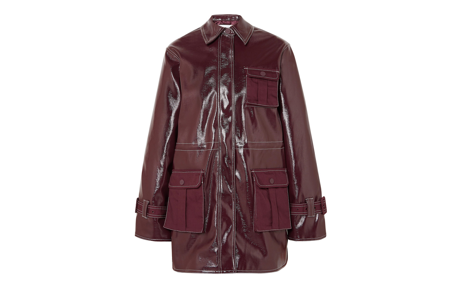 Ganni Canvas-Paneled Faux Patent-leather Jacket