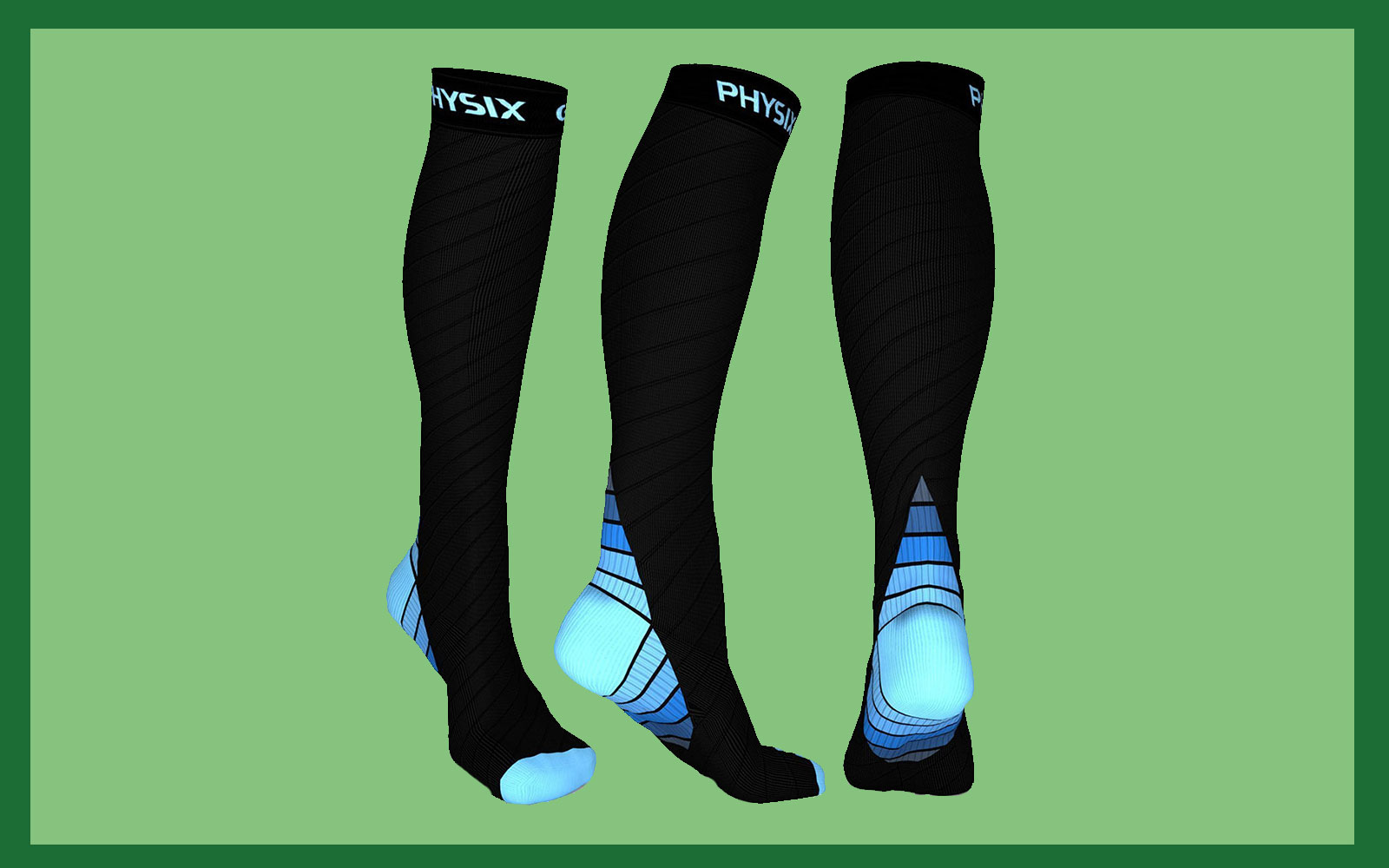 Physix Gear Sport Compression Socks for Men & Women 20-30 mmHg - Athletic Fit