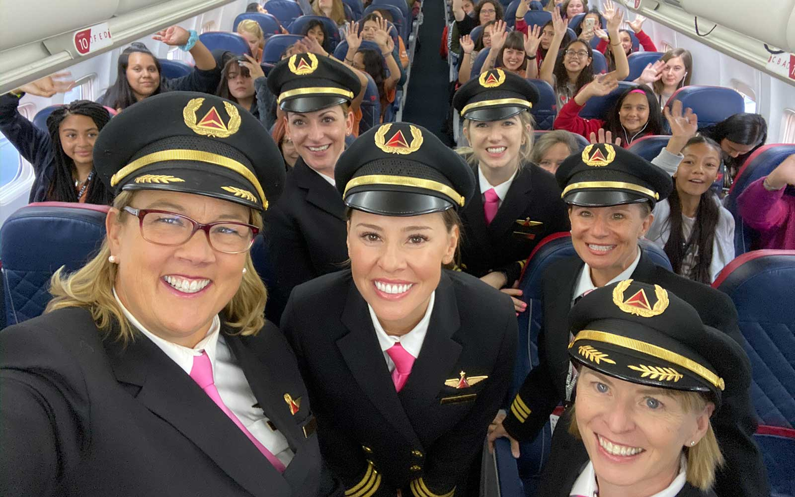 All-women Delta team flies girls to NASA