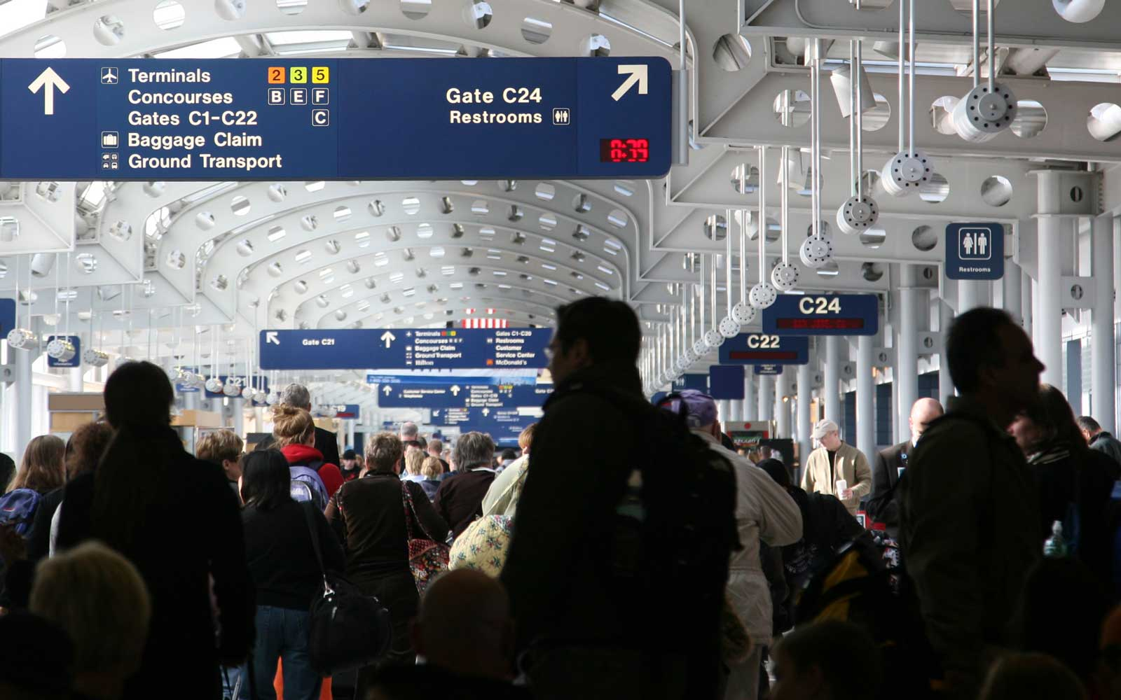 Busy Airport during holiday travel and airlines most likely to bump you from flights