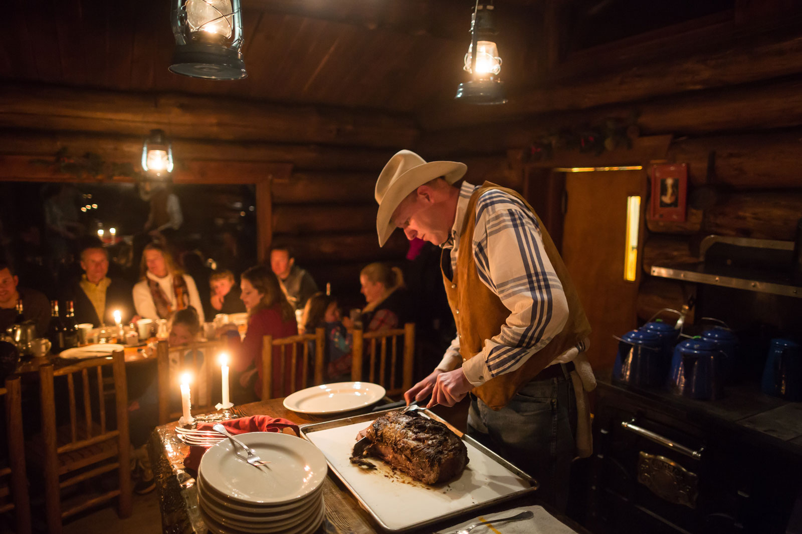 Dinner in the mountain-top cabin at Lone Mountain Ranch after the sleigh ride.