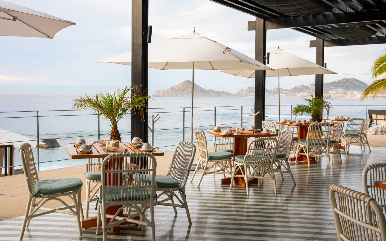 Outdoor dining at The Ledge, at The Cape hotel in Los Cabos
