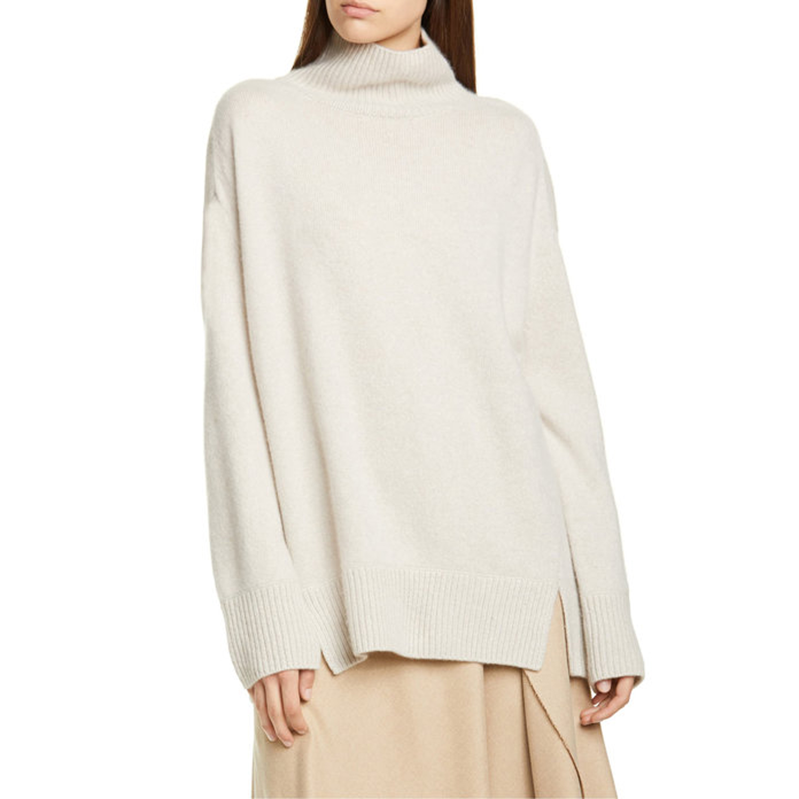 Double Slit Cashmere Turtleneck Sweater in Biscuit