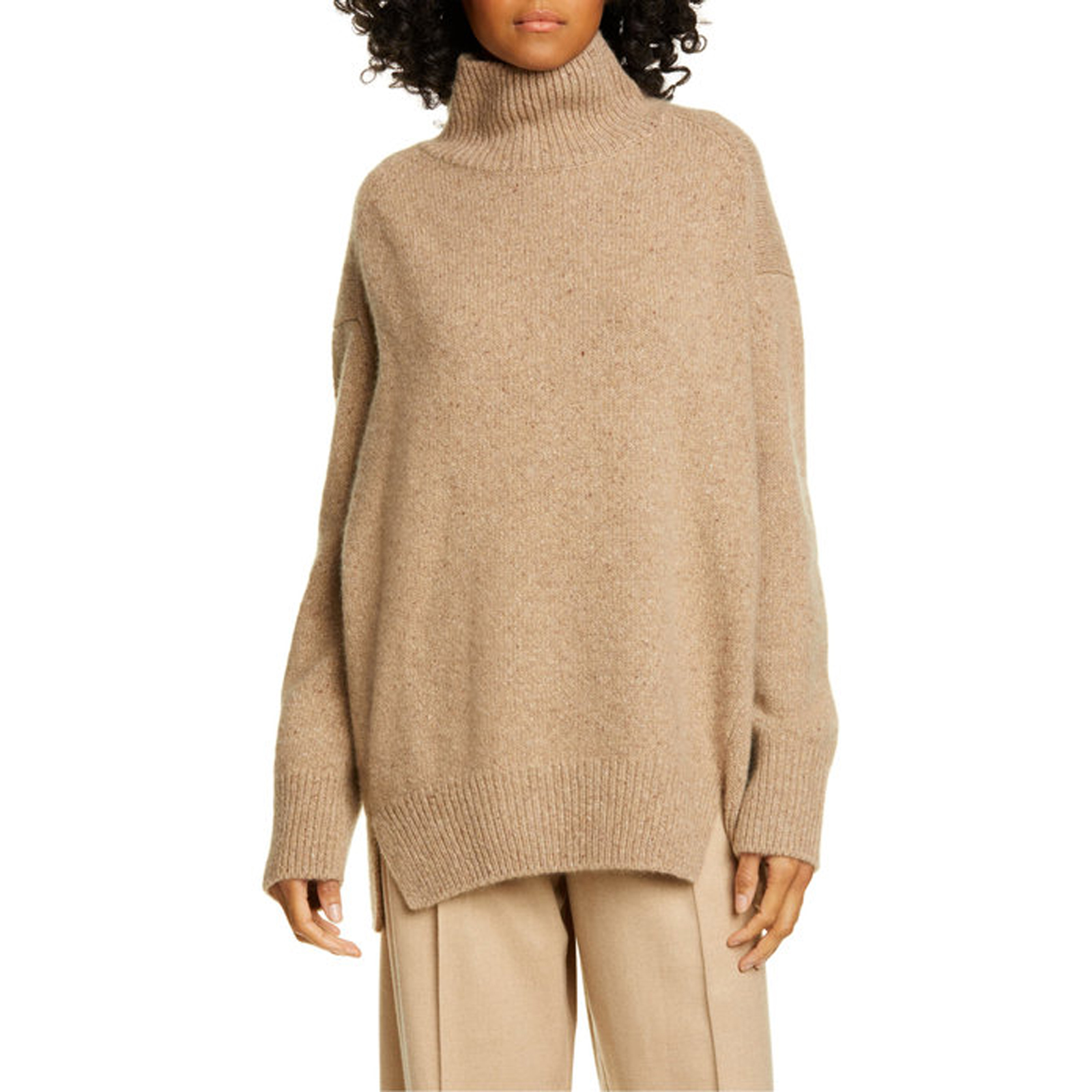 Double Slit Cashmere Turtleneck Sweater in Camel