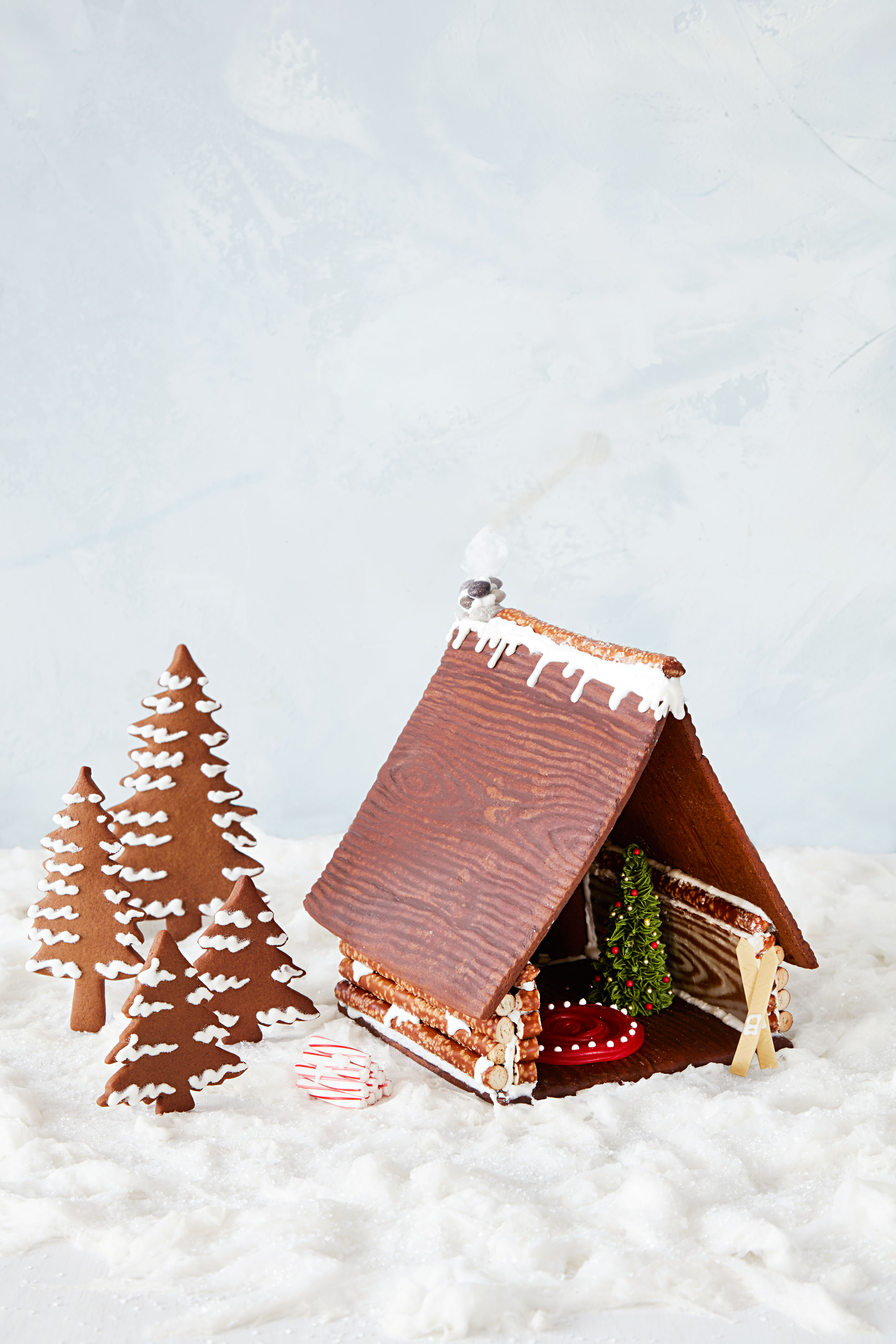 gingerbread house with trees