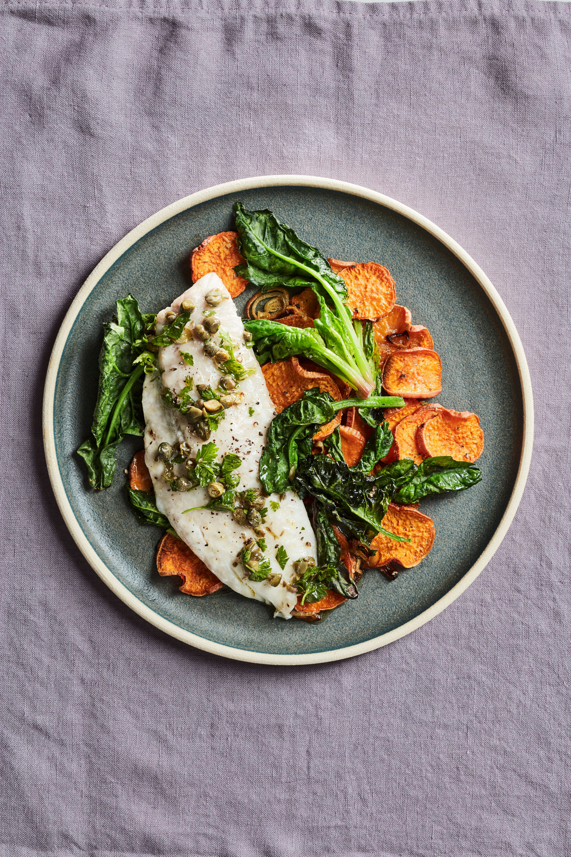 sea bass with sweet potatoes spinach and salsa rustica