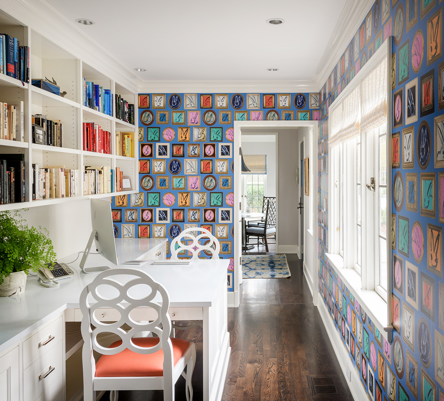 home office colorful wall built in shelves