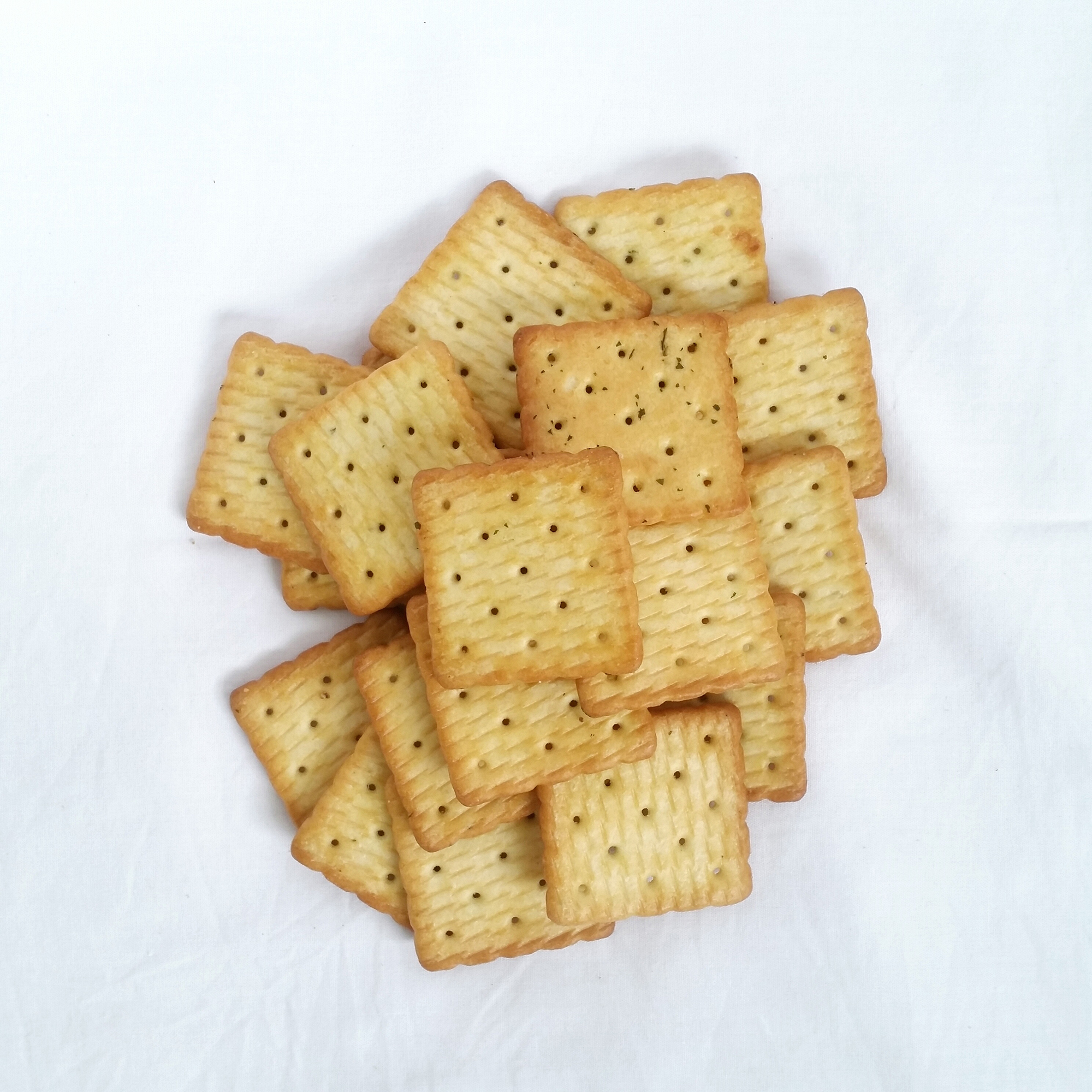 Crackers on a White Background