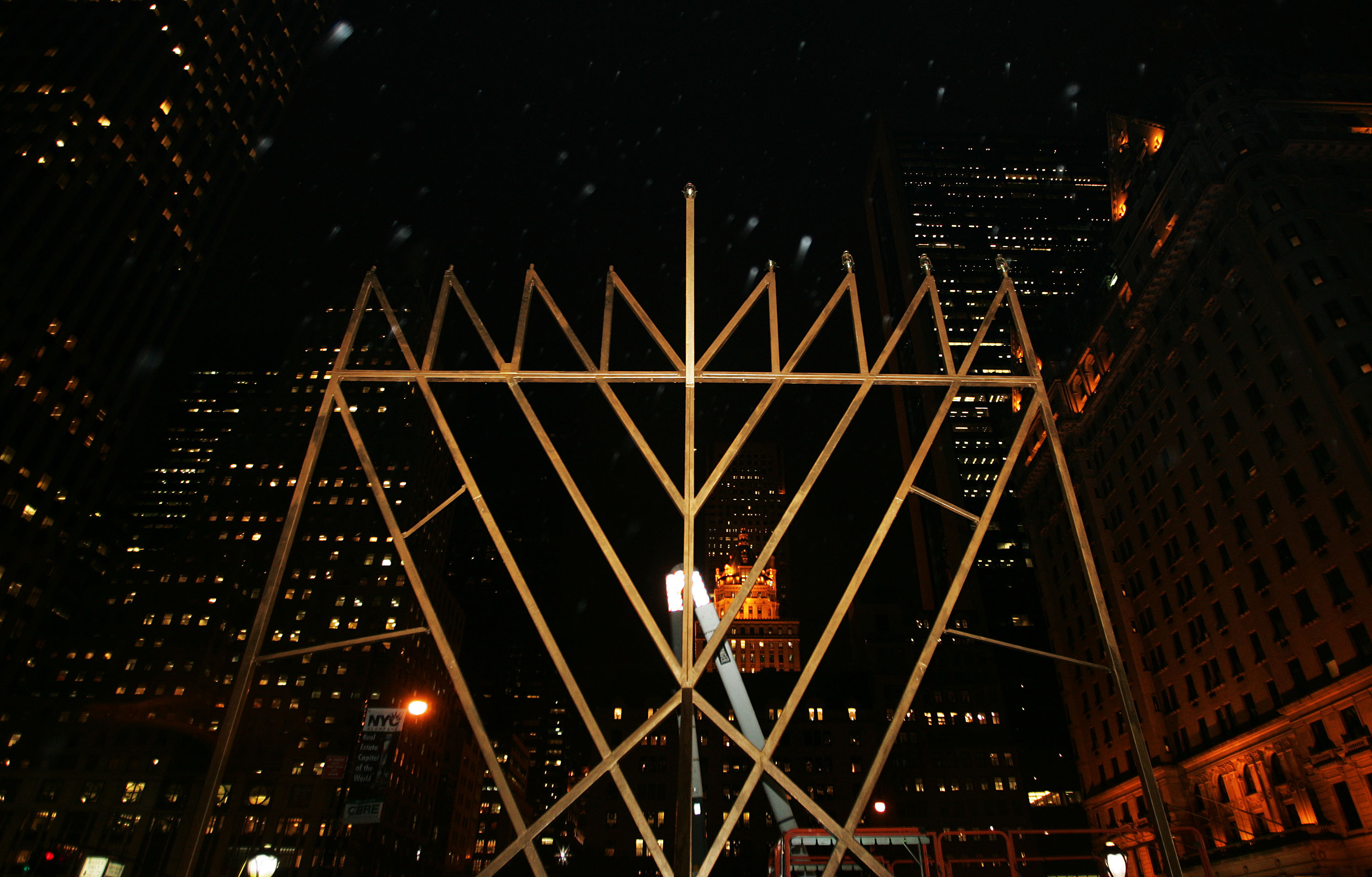 """A structure billed as the """"World's Largest Menorah"""" by Jewish leaders stands at the corner of Fifth Avenue and 59th Street December 9, 2004 in New York City."""