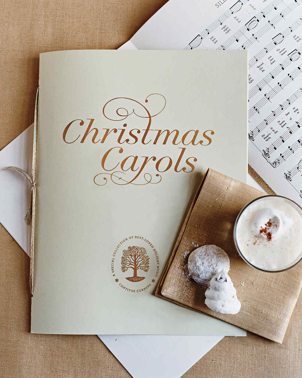 a songbook from Martha's Christmas caroling party