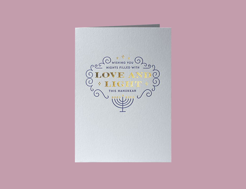 gray card Wishing You Nights Filled with Love and Light This Hanukkah