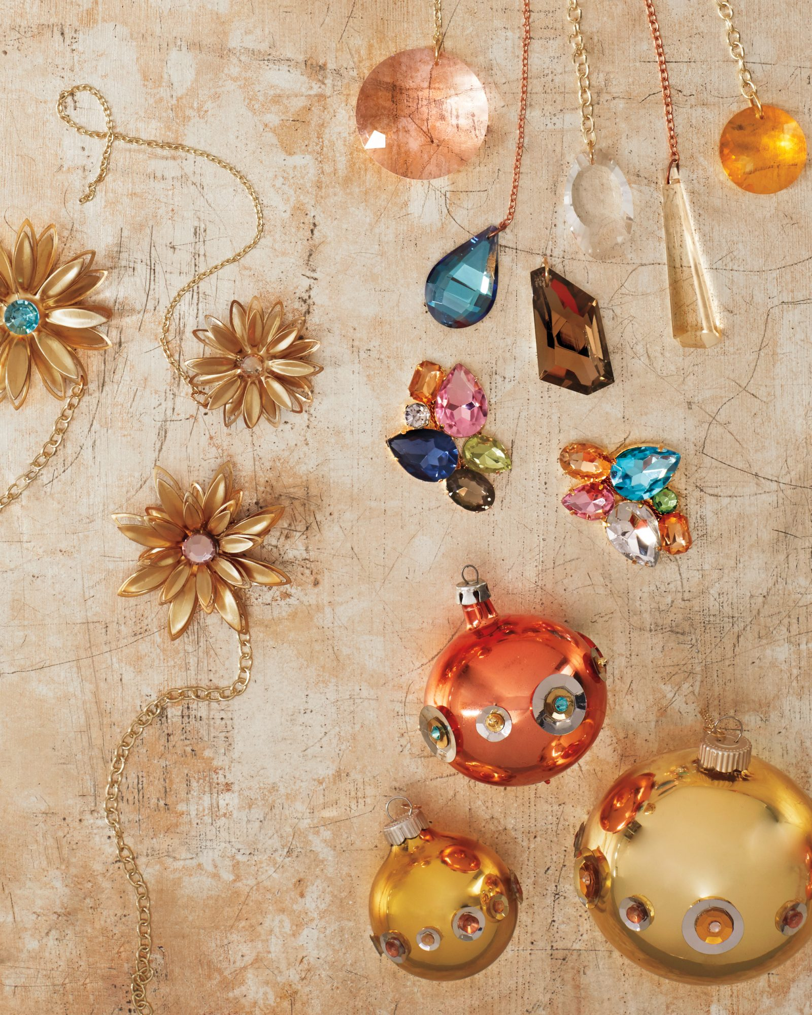 floral gems and sequined ball Christmas ornaments