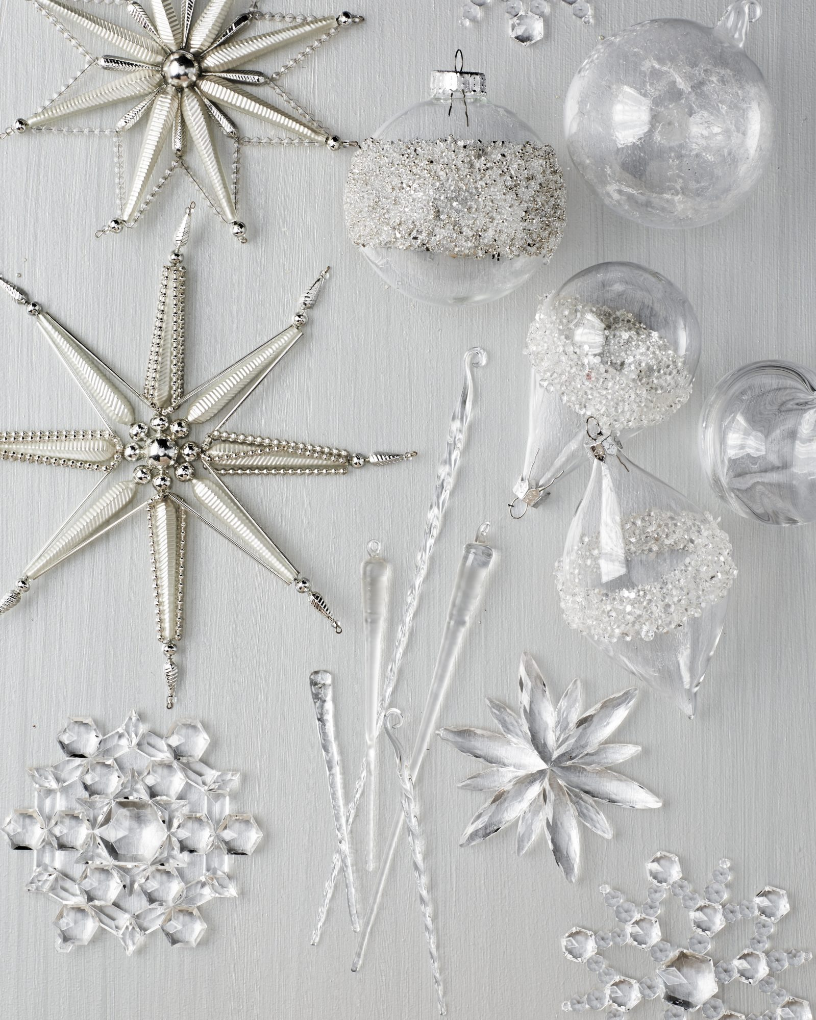 frozen snowflake and icicle Christmas ornaments