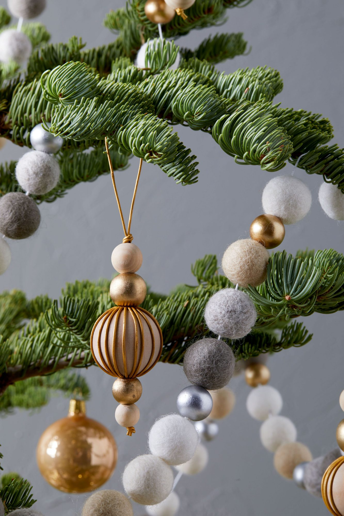 gold wooden bead Christmas ornament