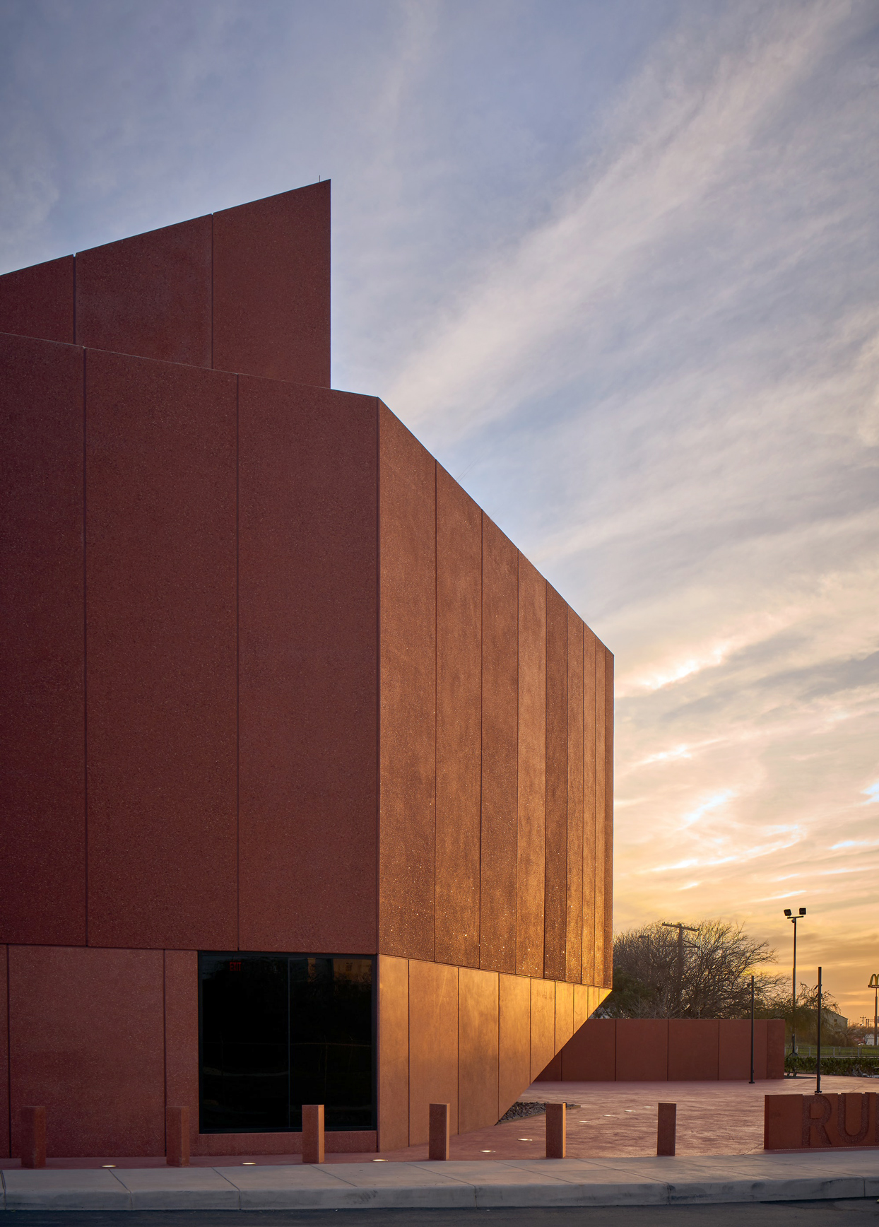 exterior of ruby city museum during golden hour