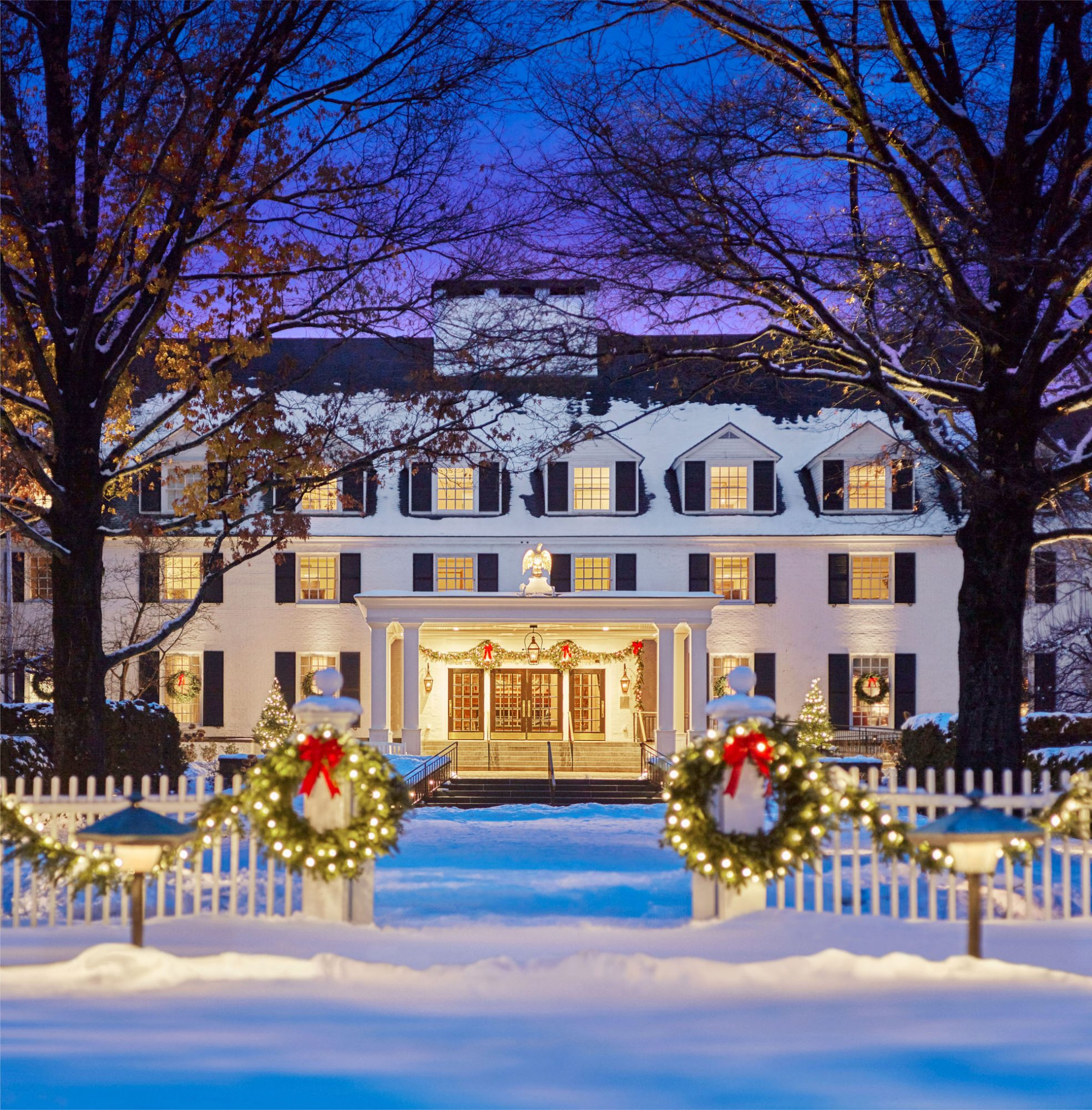Woodstock Inn & Resort with holiday decorations