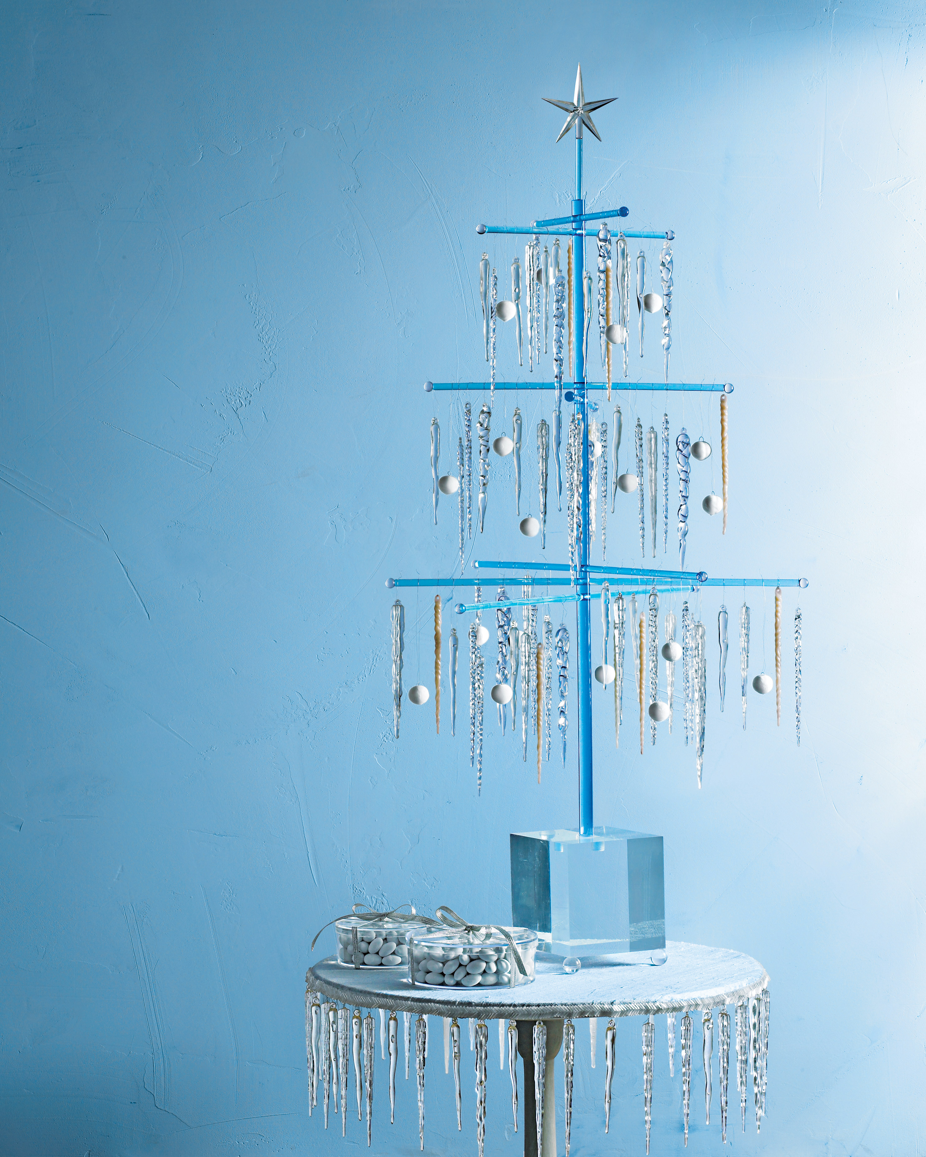 Christmas tree decorated with icicle ornaments