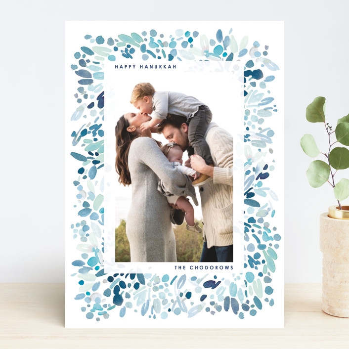 personalized Happy Hanukkah card with family photo