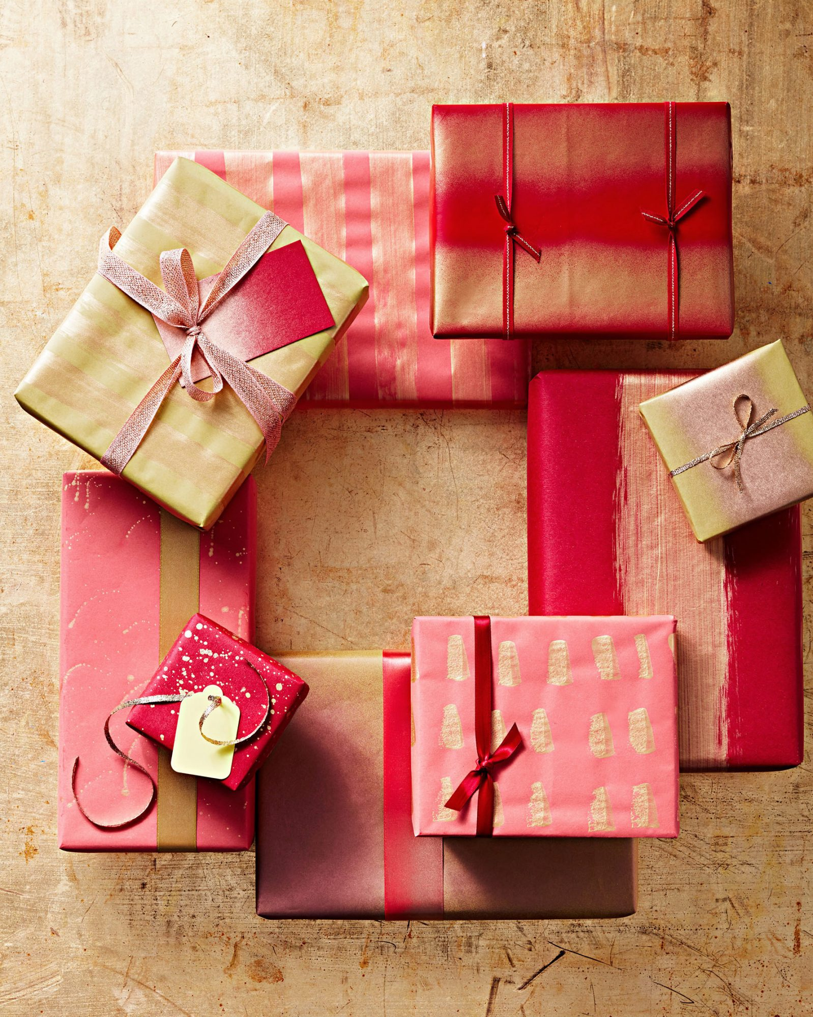 red and gold gift-wrapping paper
