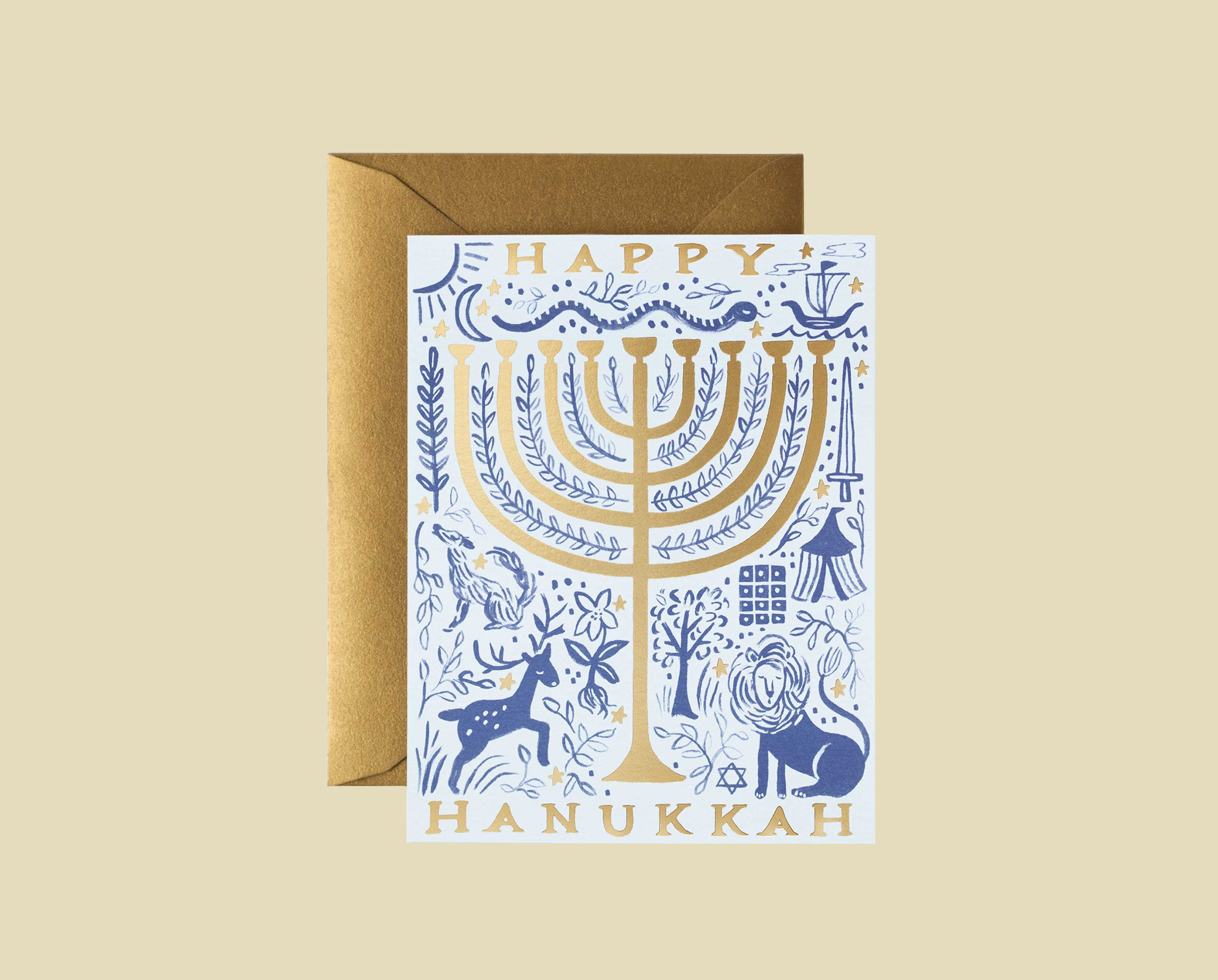 white Happy Hanukkah card gold and blue illustrations