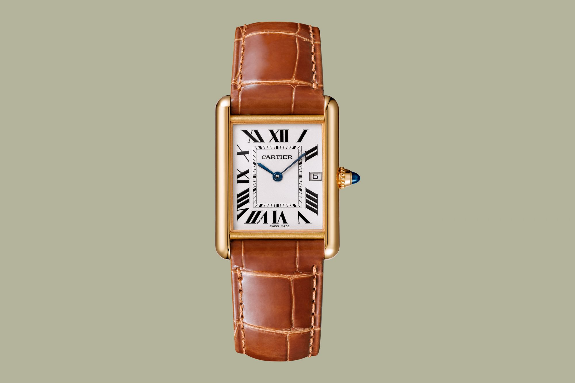 leather band cartier tank louis watch