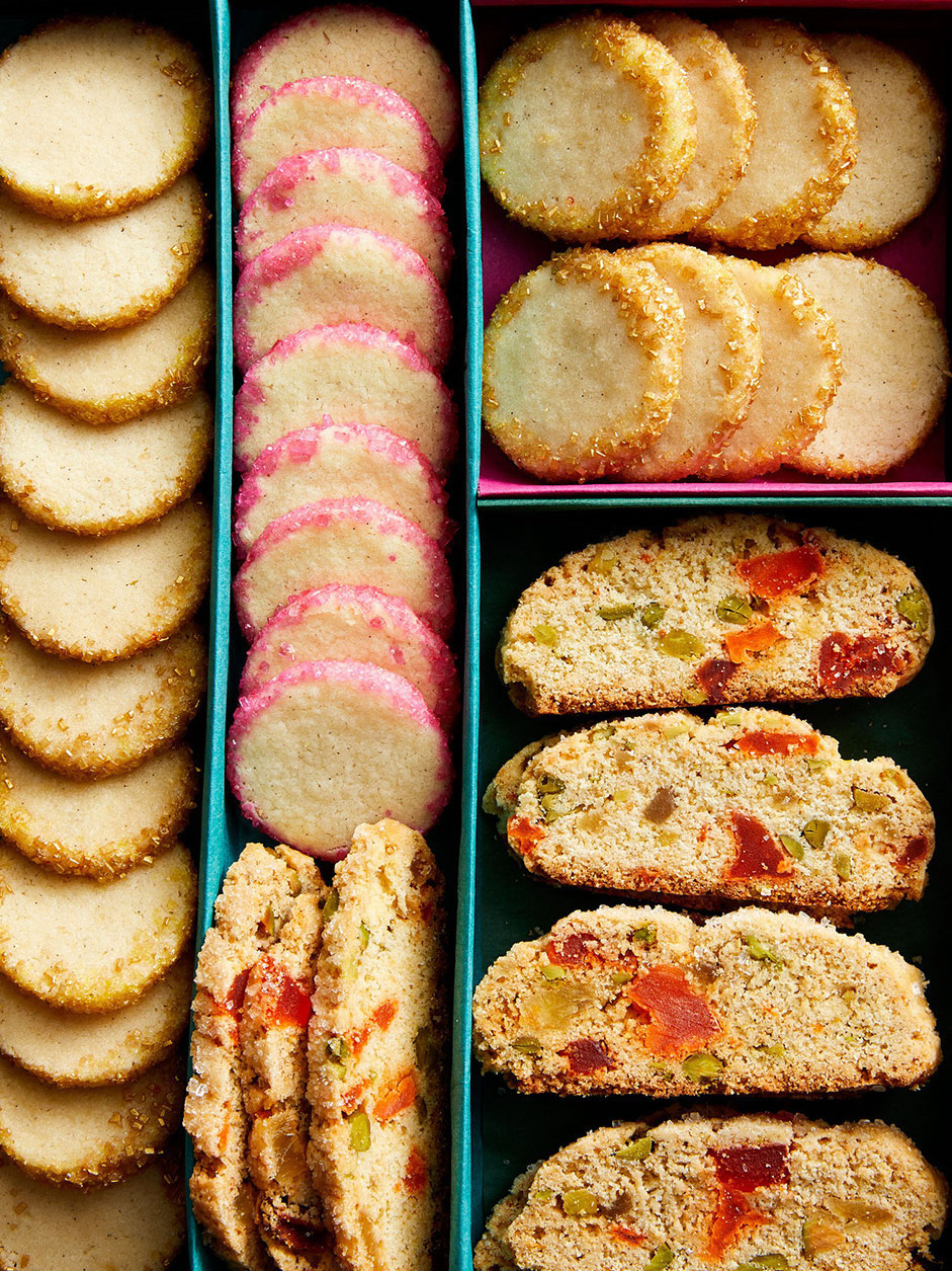 box of tropical fruit biscotti and vanilla sugar cookiesAlpha Smoot