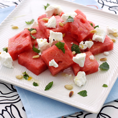 Diced Watermelon with Crumbled Goat Cheese and Balsamic Vinegar