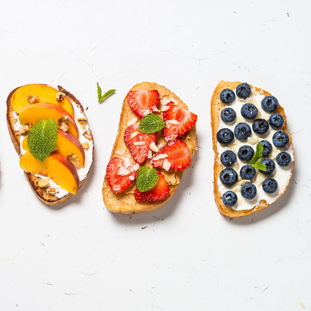 various toast recipes for healthy breakfast foods.