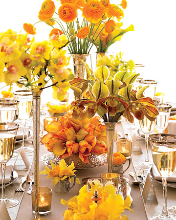 Mix-and-Match Yellow and Orange Centerpieces