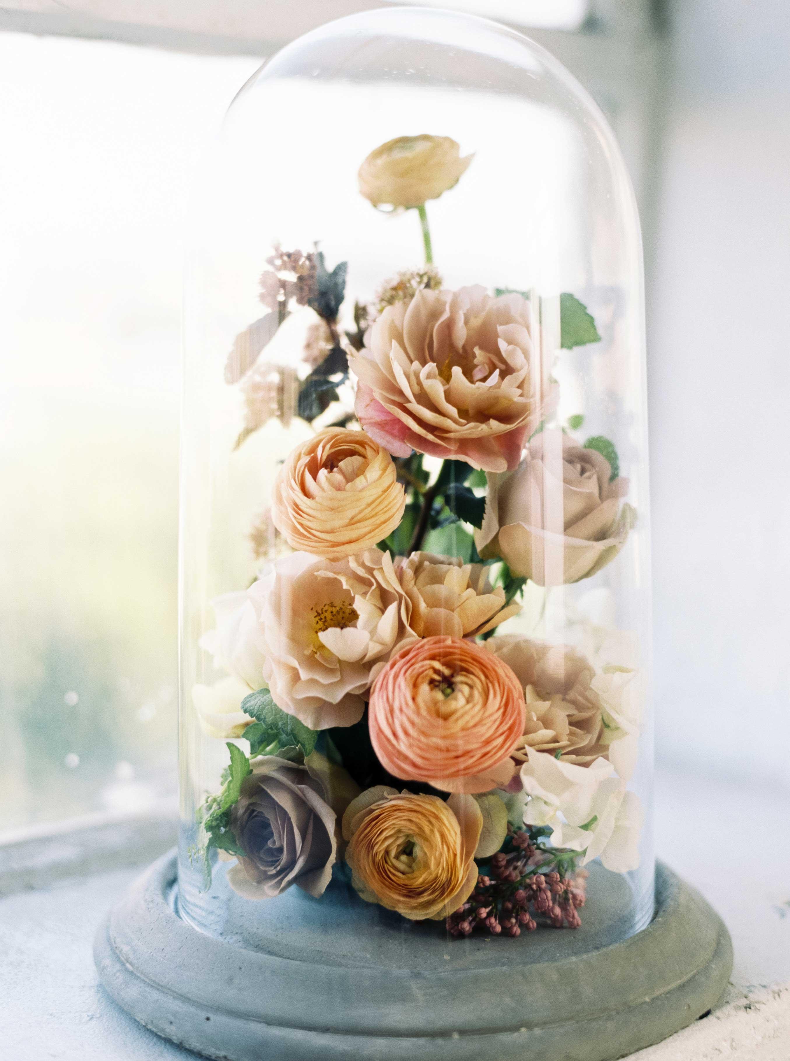 flowers in cloche