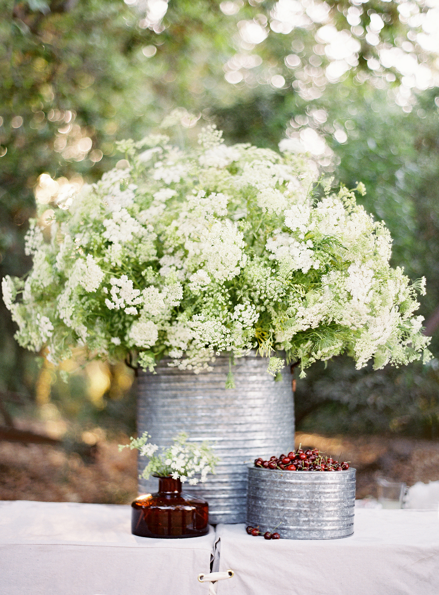 rustic centerpiece metal vessel