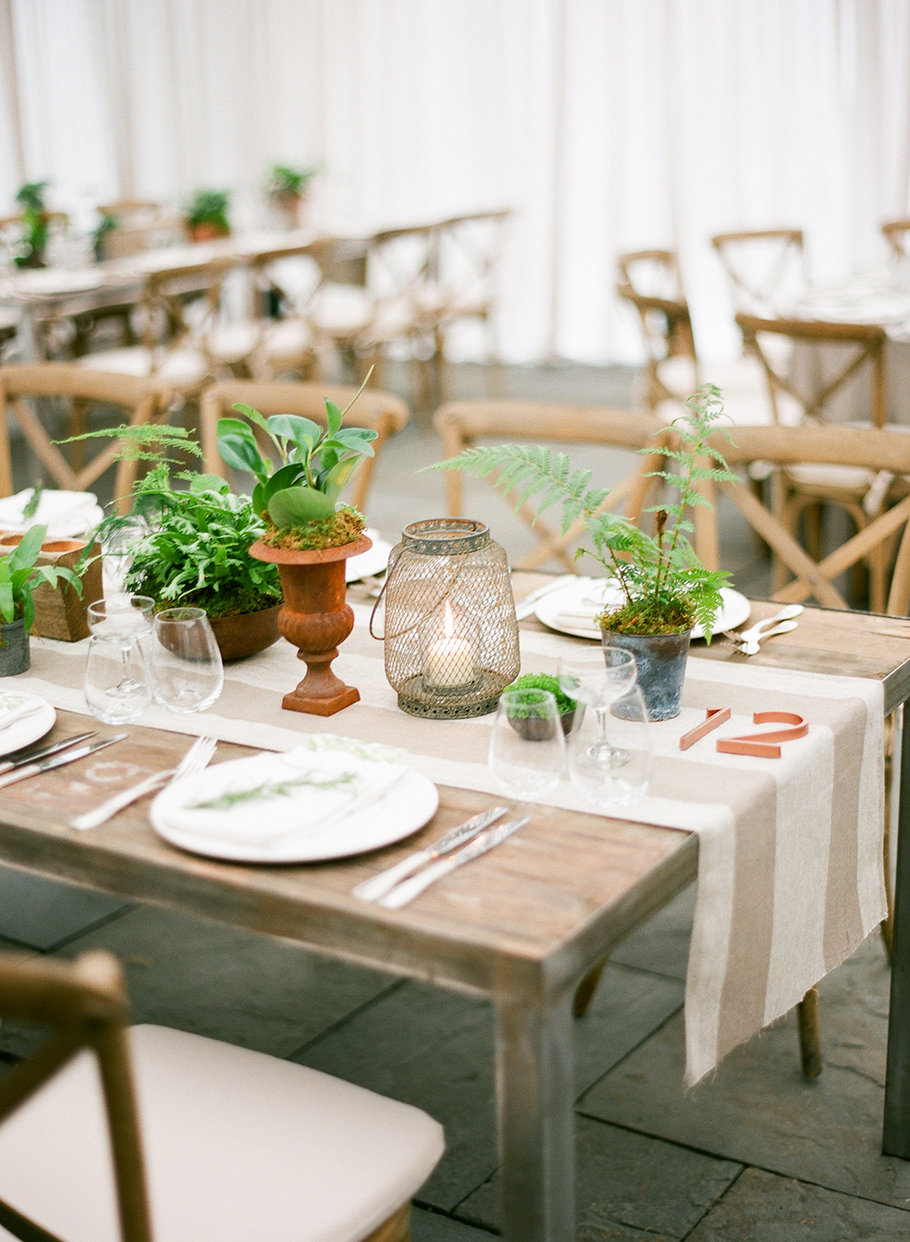 rustic wedding centerpieces bright burlap greenery vases