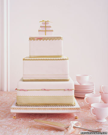 Wedding Cake With Pink and Gold