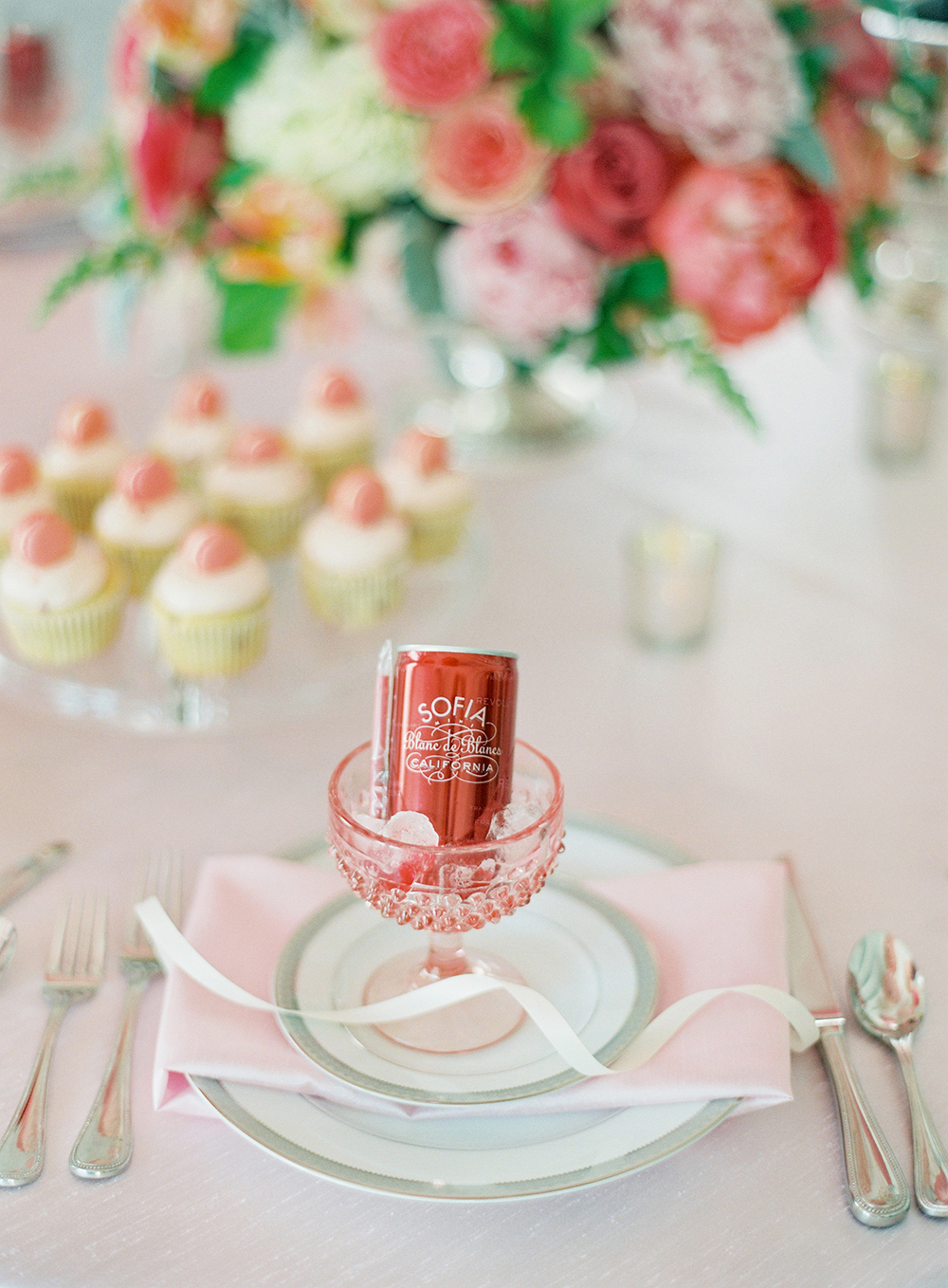 pink bridal shower bubbly can