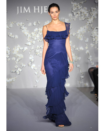 Long Blue Dress with Ruffles