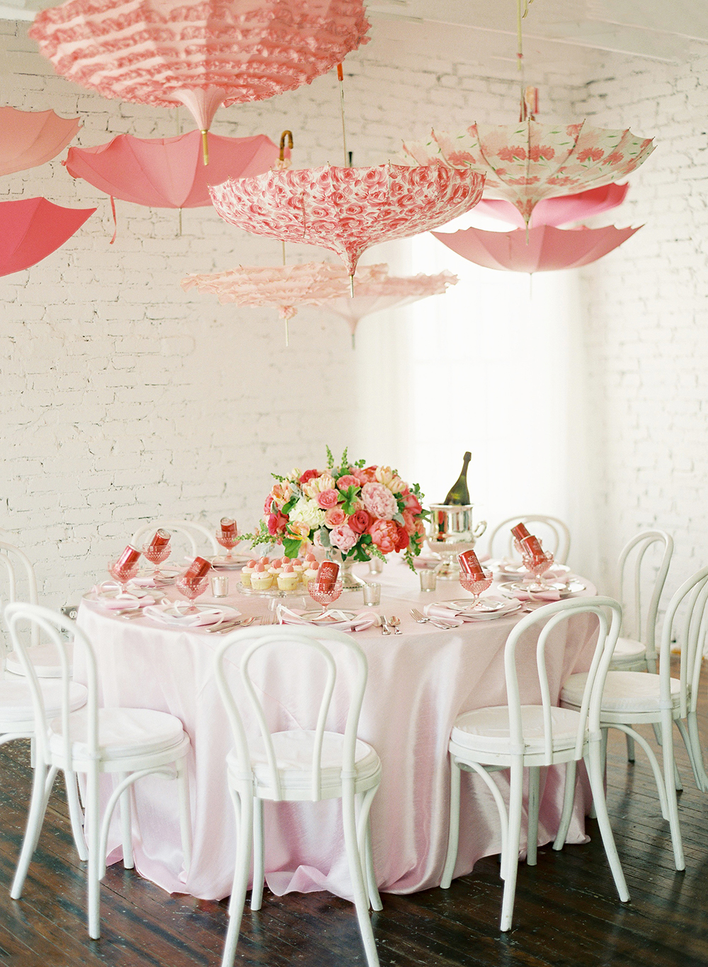 pink bridal shower umbrellas