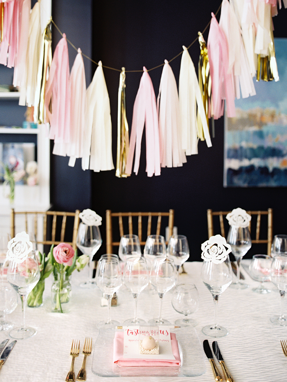 pink bridal shower fringe table decoration