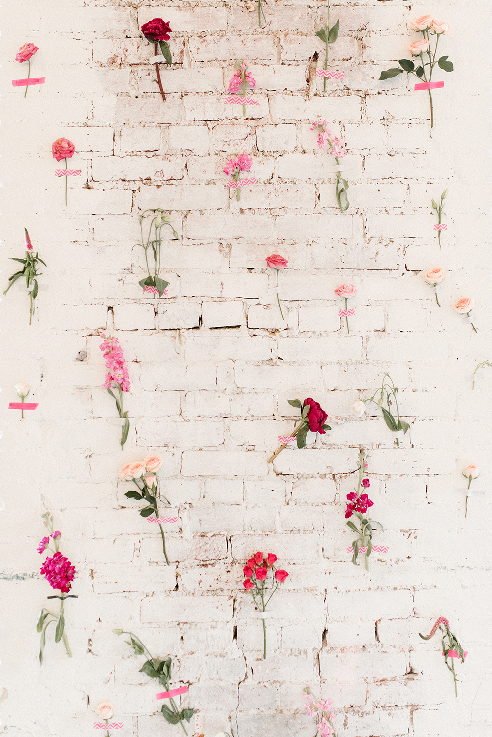 pink bridal shower floral wall