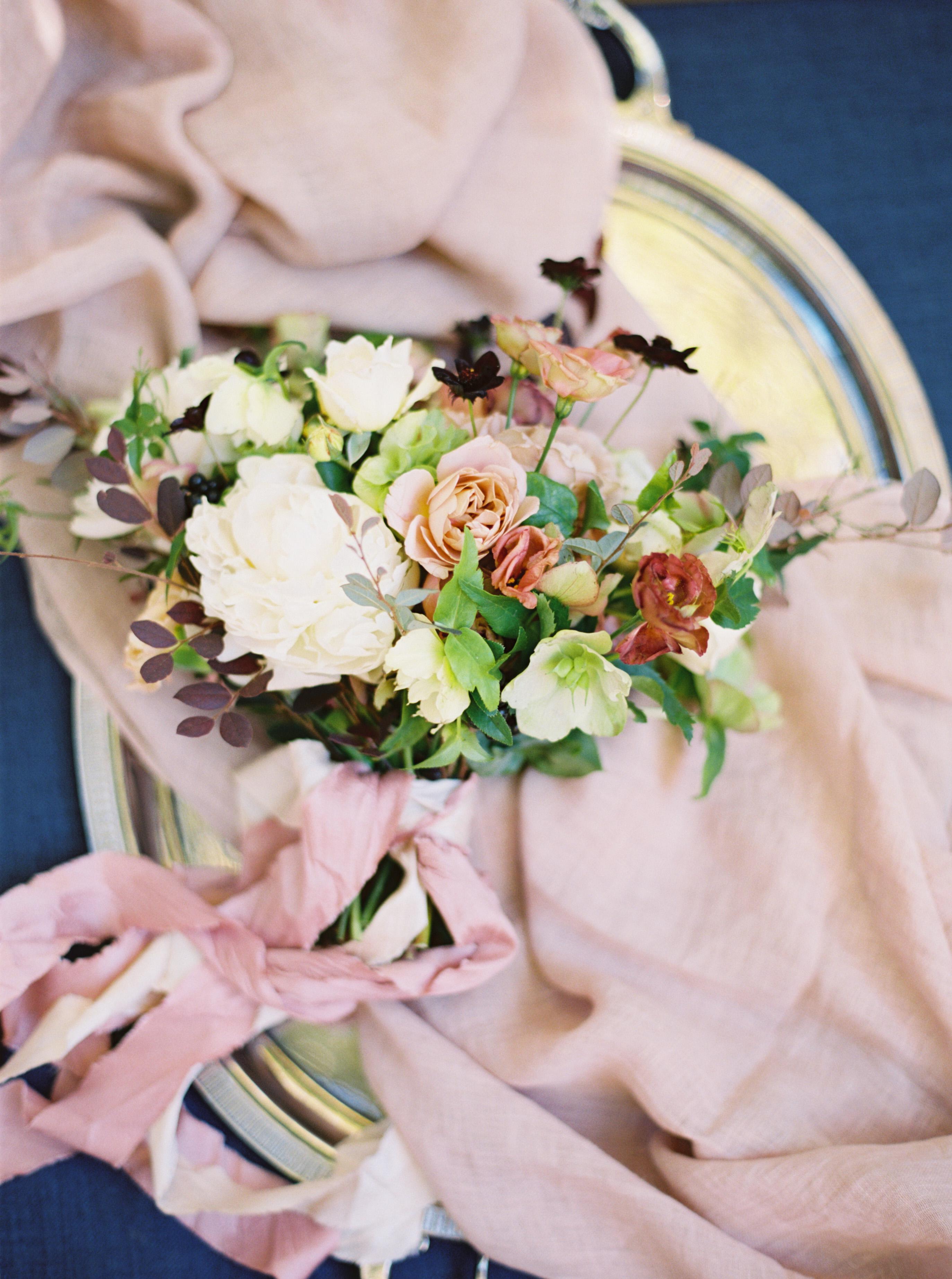 bouquet with purple sash